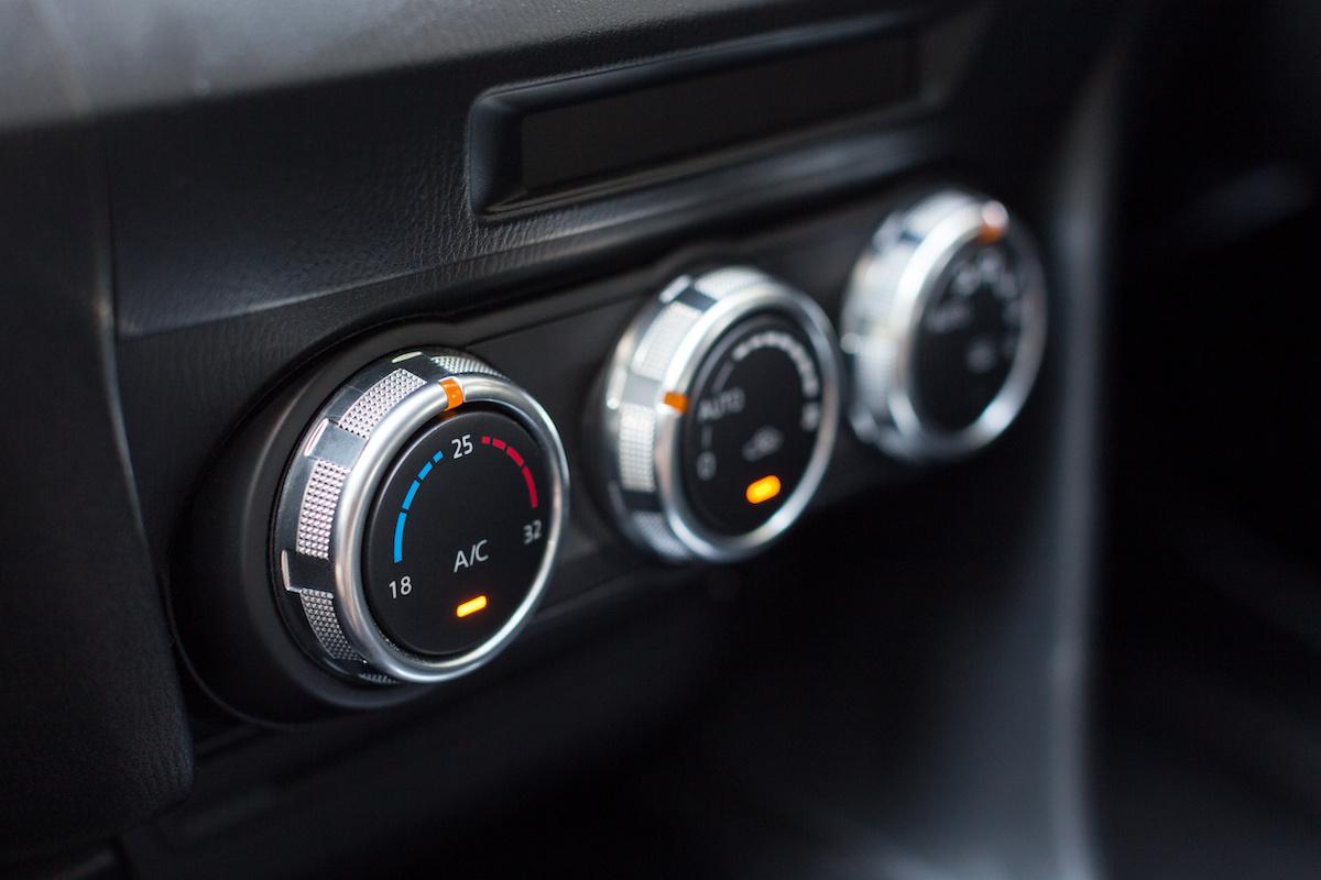Car air conditioning control panel inside a car. Car interior
